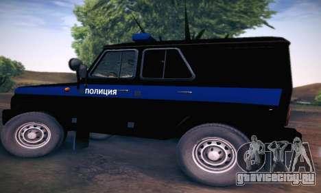 УАЗ Hunter Полиция для GTA San Andreas вид сзади слева
