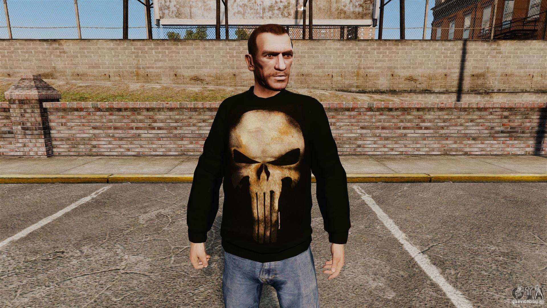 Игра Grand Theft Auto 4. Скины для GTA 4. Свитер -The Punisher- для GTA