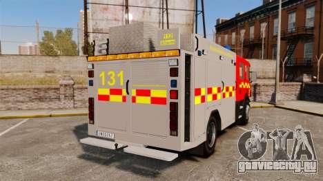 Scania 94D 260 BAS1 Stockholm Fire Brigade [ELS] для GTA 4 вид сзади слева