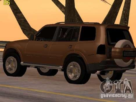 Mitsubishi Pajero 2010 для GTA San Andreas вид сзади слева