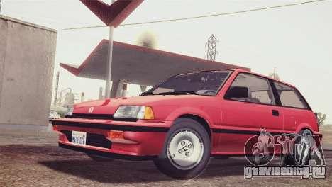 Honda Civic Si 1986 HQLM для GTA San Andreas вид сзади слева
