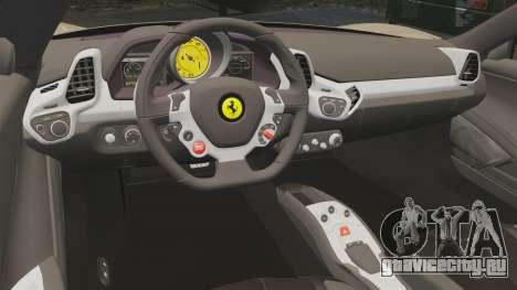 Ferrari 458 Italia 2011 для GTA 4 вид сбоку