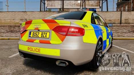 Audi S4 2013 Metropolitan Police [ELS] для GTA 4 вид сзади слева