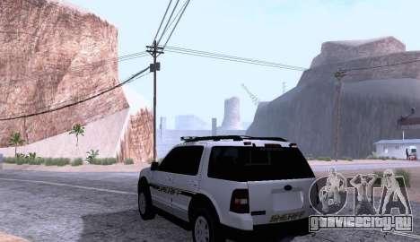 Ford Explorer Sheriff 2010 для GTA San Andreas вид сзади слева