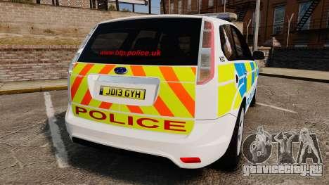 Ford Focus Estate British Police [ELS] для GTA 4 вид сзади слева