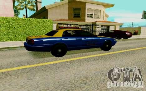 GTA V Taxi для GTA San Andreas вид сзади слева