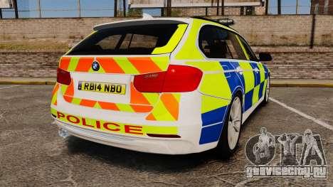 BMW 330d Touring (F31) 2014 Police [ELS] для GTA 4 вид сзади слева