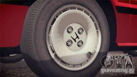 Honda Civic Si 1986 HQLM для GTA San Andreas вид изнутри