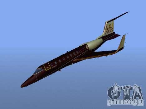 Bombardier Learjet 45 для GTA San Andreas вид сзади