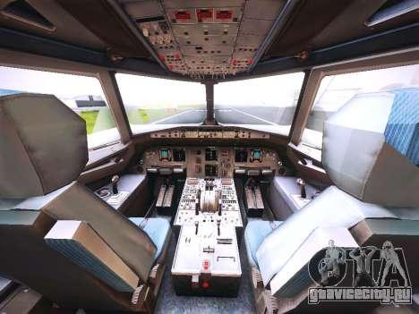 Airbus A320 JetBlue для GTA San Andreas вид изнутри