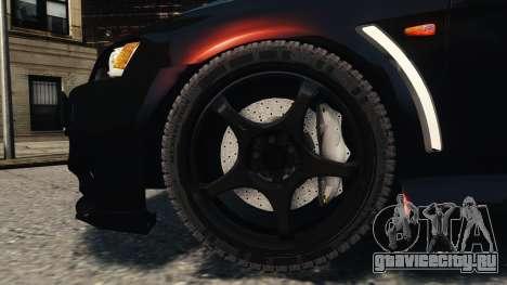 Mitsubishi Lancer Evolution X 2008 Black Edition для GTA 4 вид сбоку