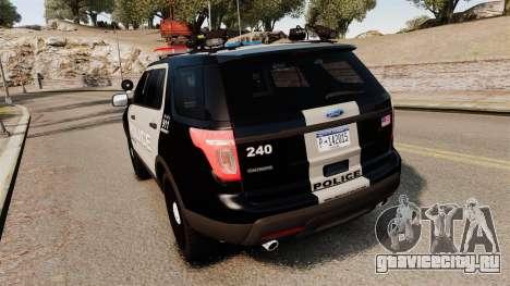 Ford Explorer 2013 LCPD [ELS] Black and Gray для GTA 4 вид сзади слева