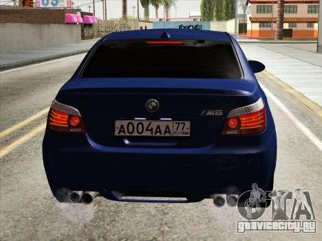 BMW M5 E60 2010 для GTA San Andreas вид изнутри