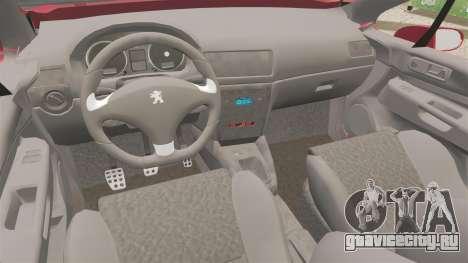 Peugeot 308 CC для GTA 4 вид изнутри