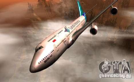 Boeing 747-400 Garuda Indonesia для GTA San Andreas вид сзади