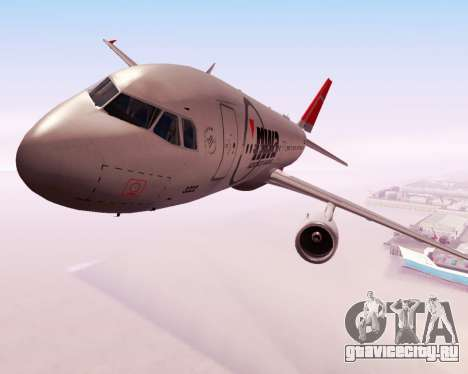 Airbus A320 NWA для GTA San Andreas вид изнутри