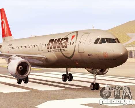 Airbus A320 NWA для GTA San Andreas вид сзади слева