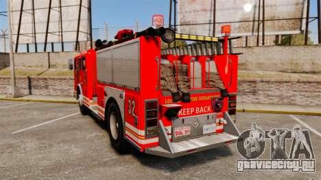 Fire Truck v1.4A LSFD [ELS] для GTA 4 вид сзади слева