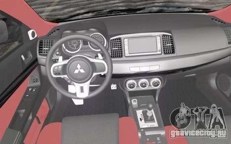 Mitsubishi Lancer Evolution X 2008 для GTA San Andreas вид справа