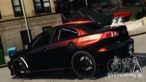 Mitsubishi Lancer Evolution X 2008 Black Edition для GTA 4 вид слева