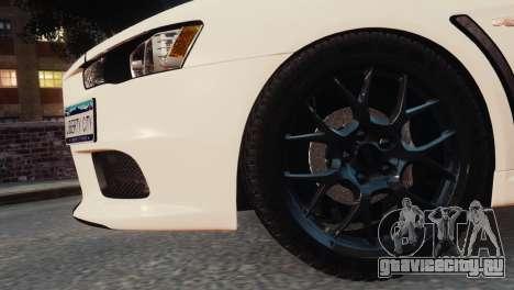 Mitsubishi Lancer Evolution X 2008 для GTA 4 вид справа