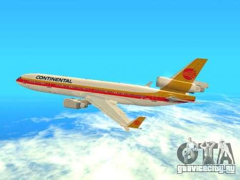 McDonnell Douglas MD-11 Continental Airlines для GTA San Andreas вид сзади