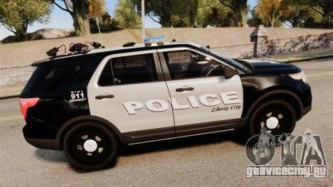 Ford Explorer 2013 LCPD [ELS] Black and Gray для GTA 4 вид слева