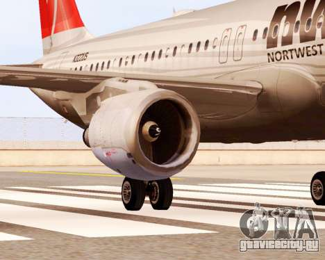 Airbus A320 NWA для GTA San Andreas вид справа