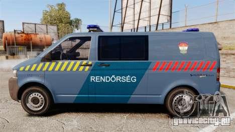 Volkswagen Transporter T5 Hungarian Police [ELS] для GTA 4 вид слева