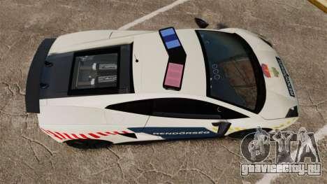 Lamborghini Gallardo Hungarian Police [ELS] для GTA 4 вид справа
