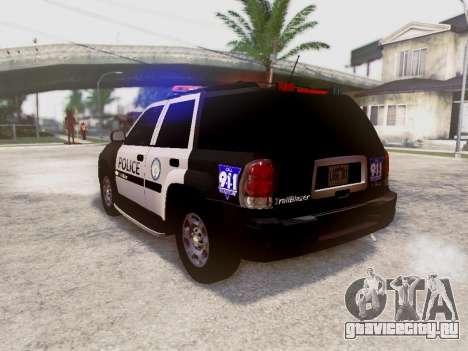 Chevrolet TrailBlazer Police для GTA San Andreas вид сзади слева