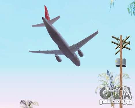 Airbus A320 NWA для GTA San Andreas вид сверху