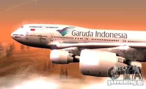 Boeing 747-400 Garuda Indonesia для GTA San Andreas вид сзади слева