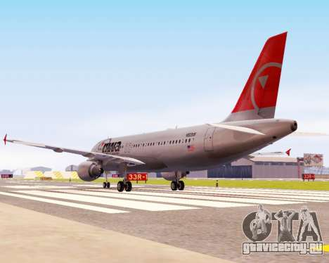 Airbus A320 NWA для GTA San Andreas вид сзади