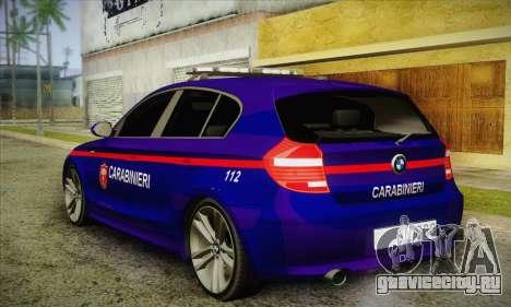 BMW 120i SE Carabinieri для GTA San Andreas вид сзади слева