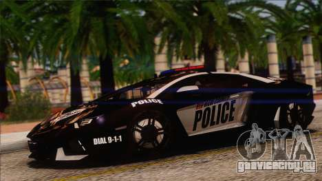 Lamborghini Aventador LP 700-4 Police для GTA San Andreas вид сверху