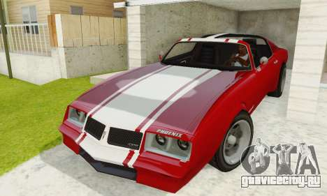 Imponte Phoenix из GTA 5 для GTA San Andreas вид изнутри