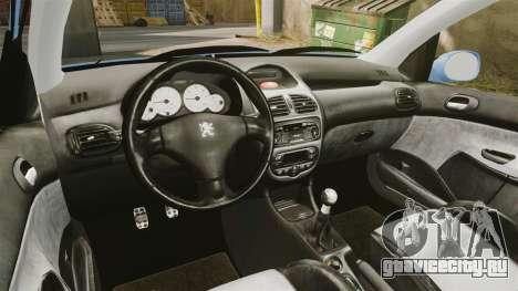 Peugeot 206 для GTA 4 вид сзади