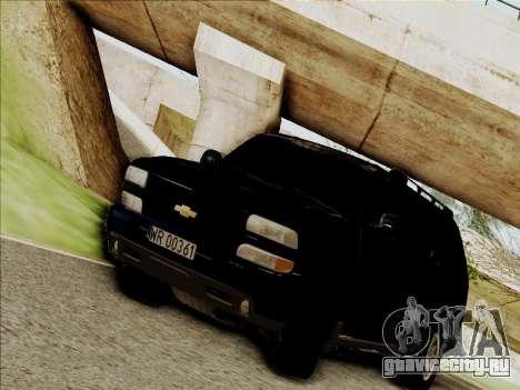 Chevrolet Suburban для GTA San Andreas вид сзади слева