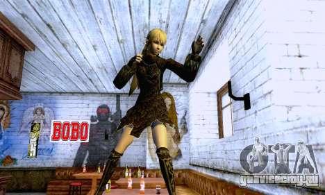 Девушка блондинка в черной одежде для GTA San Andreas седьмой скриншот
