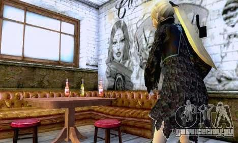 Девушка блондинка в черной одежде для GTA San Andreas четвёртый скриншот