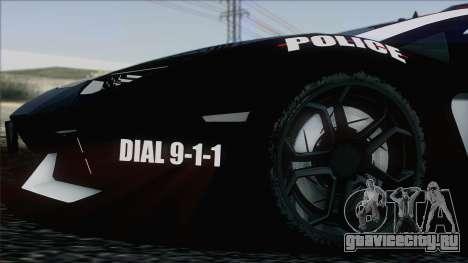 Lamborghini Aventador LP 700-4 Police для GTA San Andreas салон