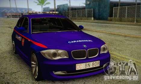 BMW 120i SE Carabinieri для GTA San Andreas вид слева