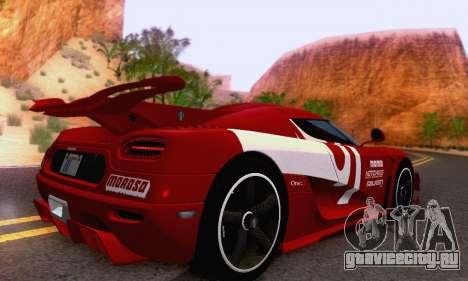 Koenigsegg One 2014 для GTA San Andreas вид справа