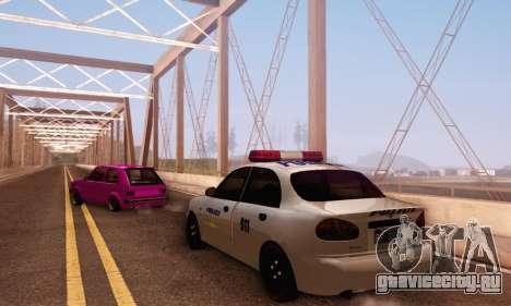 Daewoo Lanos Police для GTA San Andreas вид сзади слева