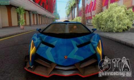 Lamborghini LP750-4 2013 Veneno Blue Star для GTA San Andreas вид сзади слева
