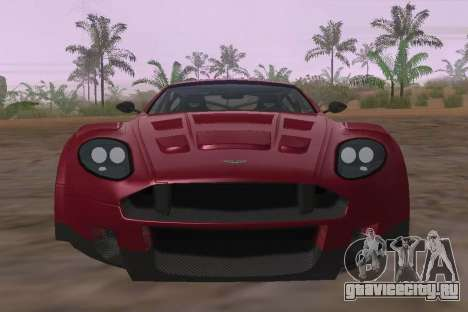 Aston Martin DBR9 для GTA San Andreas вид изнутри