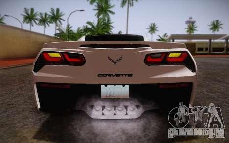 Chevrolet Corvette Stingray C7 2014 для GTA San Andreas вид сверху