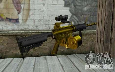 Golden M4 с магазином для GTA San Andreas второй скриншот