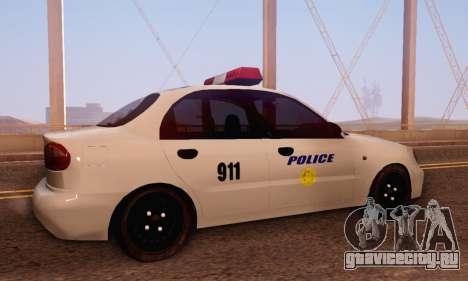 Daewoo Lanos Police для GTA San Andreas вид справа
